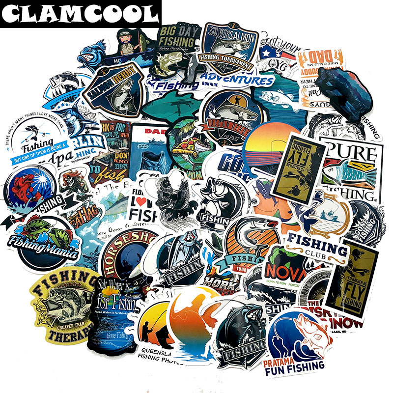 50Pcs Outdoor Camping Fishing Stickers For Scrapbooking Album Luggage Laptop Phone Notebook Decals Sticker