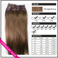 "Venta al por mayor 15 "" - 36 "" 70-140gr mujeres de Remy pelo humano recto Clips en extensiones de cabello Light Brown #"