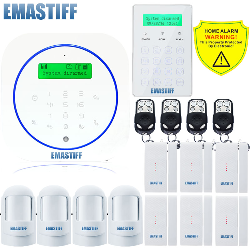 Free shipping.Built-in temperature Wireless SMS Call Home GSM Alarm System Burglar Alarm System Wireless Touch Password Keypad wireless smoke fire detector for wireless for touch keypad panel wifi gsm home security burglar voice alarm system