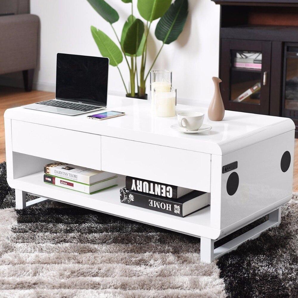 Giantex Table basse moderne Bluetooth haut-parleurs tiroir lumière LED USB Port de chargement meubles commerciaux HW58277