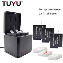 TUYU for GoPro Hero 7 Black Hero 6 5 Cam 3-way Battery Charger and 3 Batteries Kit Charging Storage Box with Replacement Battery цены