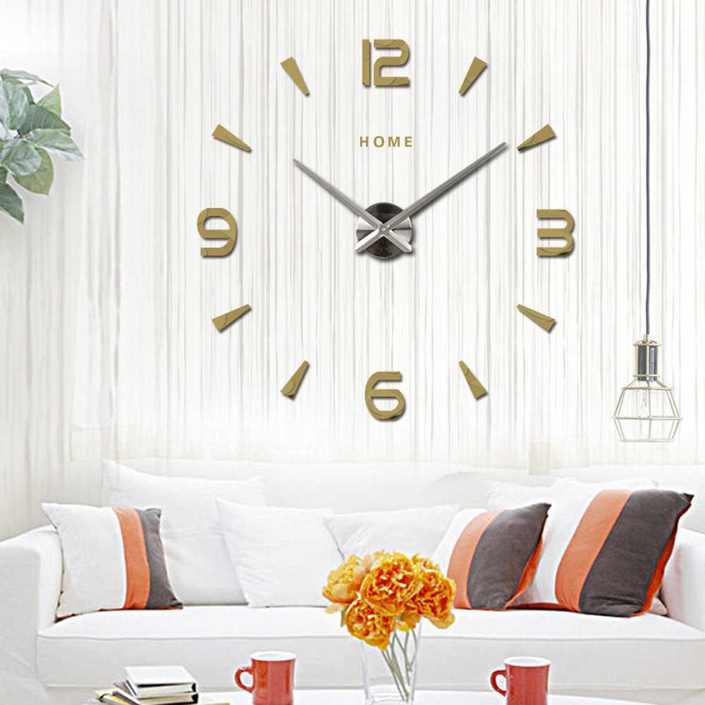 Большие настенные часы кварцевые 3D DIY большие декоративные кухонные часы акриловые зеркальные наклейки Oversize настенные часы Home Letter Home Decor