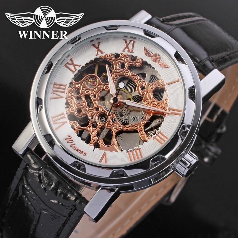 17bb9da51e7750 Darmowa wysyłka szkielet zwycięzca Mechaniczne mężczyzna zegarek srebrny  kolor czarny skórzany pasek WRG8008M3S5