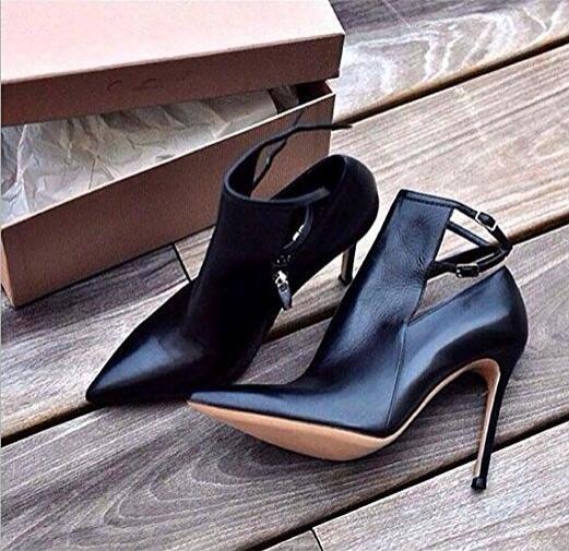 Tobillo Gladiador Hebilla 13 Mujeres Zapatos Botas Las Cuero As Dedo Negro Picture Alto Sandalias Tacón Pie Del Gran Tamaño Recorte Punta De Sexy Correa Iw5qU