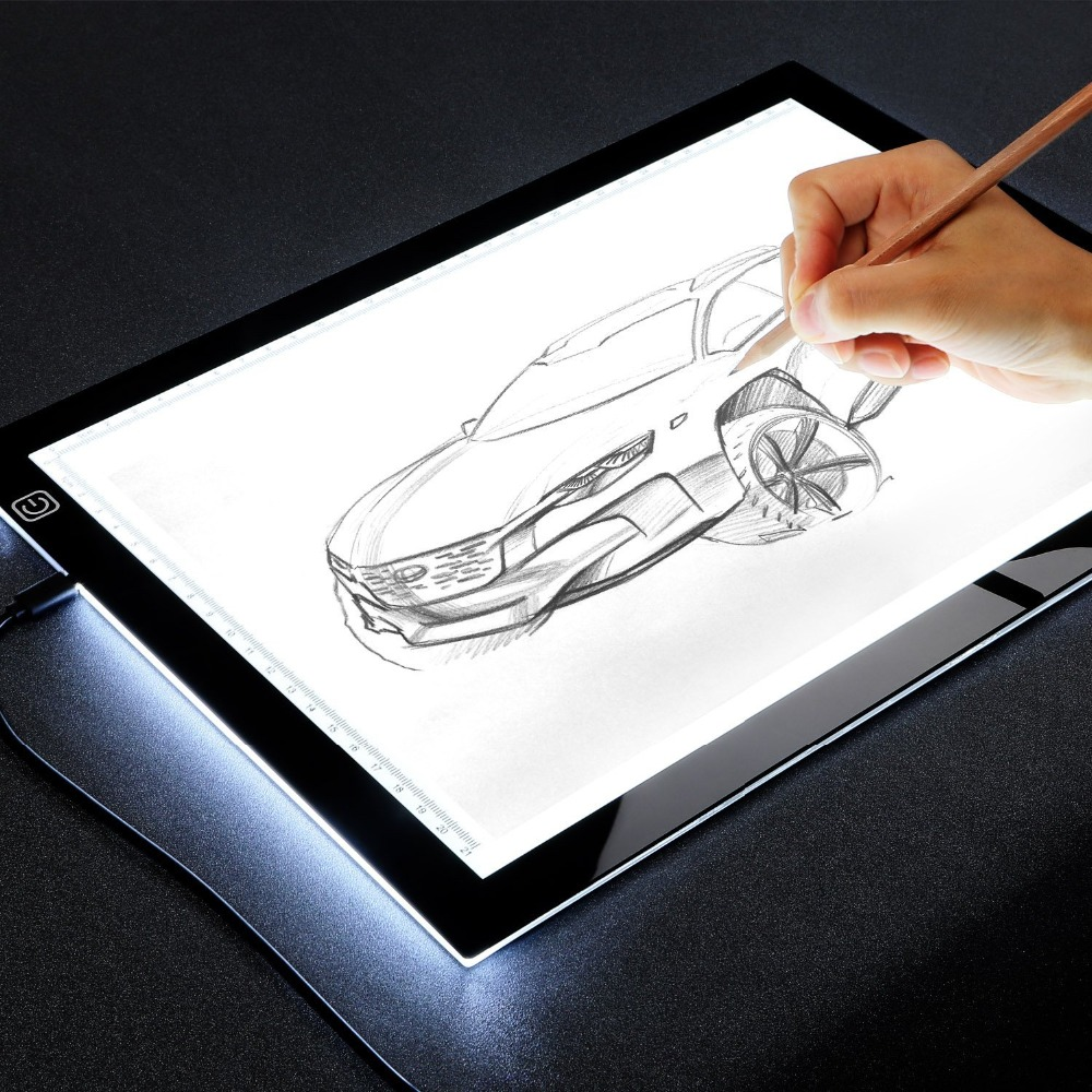 A4 LED Light Drawing Board Tracer Calibration LED Art craft led Sketch Tablet Tracing Light Pad Canvas for Painting Watercolor tartan