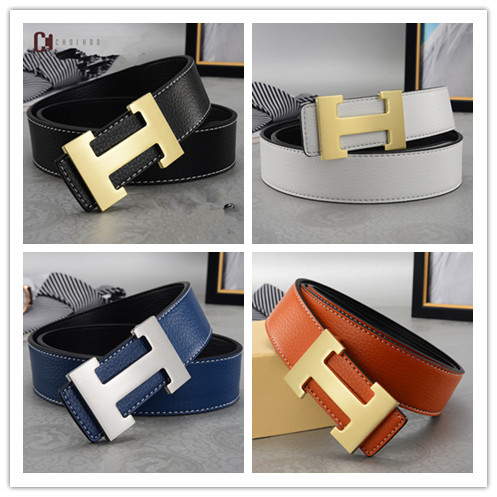Men Belt 2018 Cowhide Genuine Leather Belts for Men Fashion Smooth Buckle Belts With Letter H wo'men Belts Cinturones Hombre