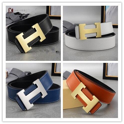 Men   Belt   2018 Cowhide Genuine Leather   Belts   for Men Fashion Smooth Buckle   Belts   With Letter H wo'men   Belts   Cinturones Hombre