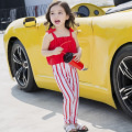 Everweekend Girls New Stripes Ruffles Overall Swim Suites Summer Cute Swimwears Black and Red Color