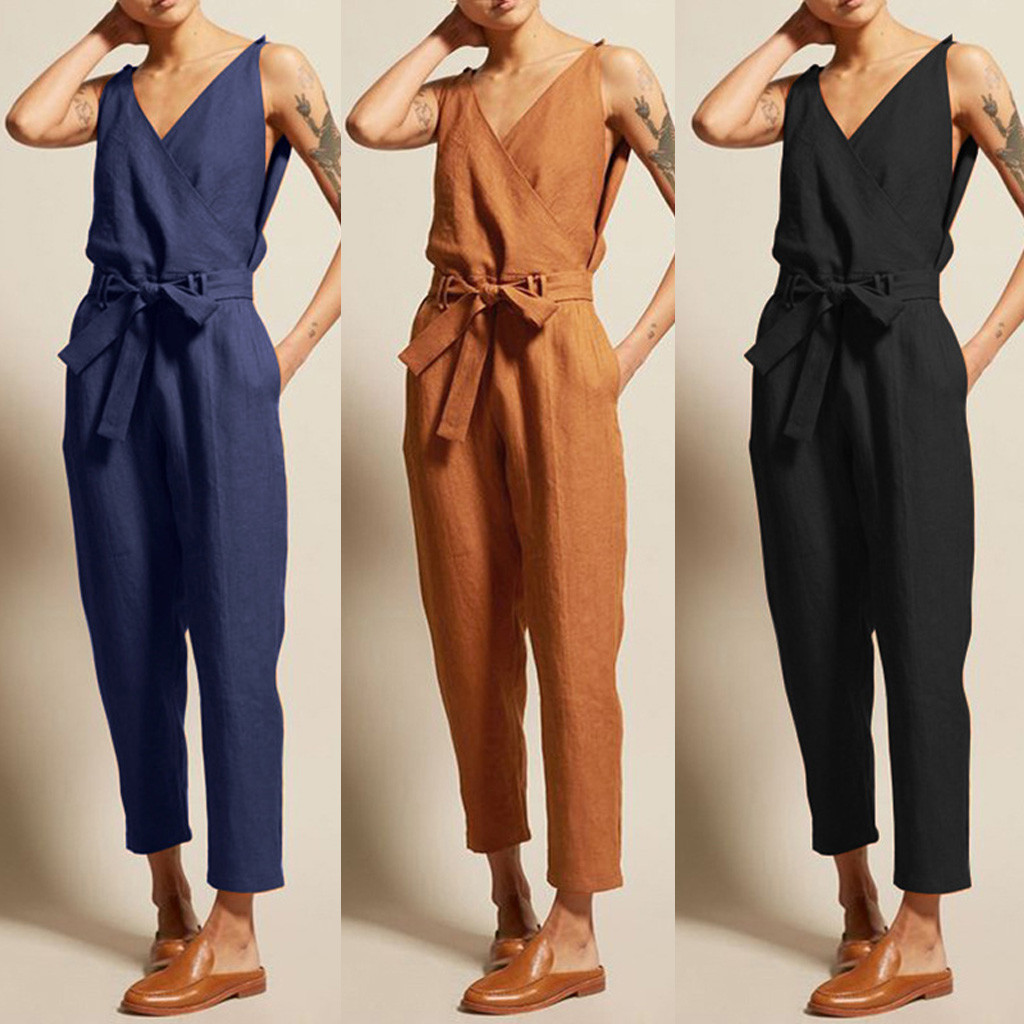 WOMAIL Women's Jumpsuits Linen Lace-Up Plus-Size Casual Summer Fashion Sleeveless V-Neck-Belt