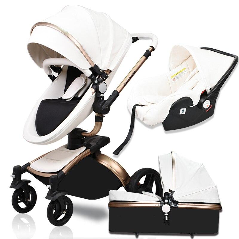Babyfond Leather stroller luxury baby stroller 3 in 1 folding four wheels baby stroller baby car child stroller send free gifts stroller 1 baby