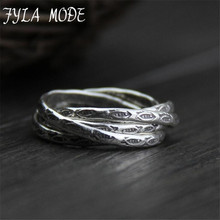 100% 999 Silver Rings Gifts Vintage Lucky Fish Carved Multilayer  Ring Thai Jewelry