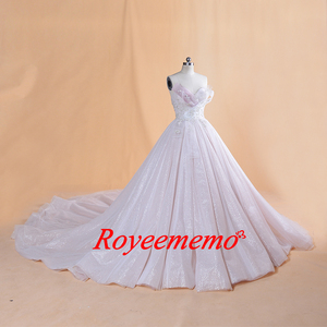 Image 4 - 2019 Thiết Kế Mới nóng bán dài tay áo vàng vành đai Wedding Dress ren wedding gown bất hình ảnh nhà máy thực hiện bán buôn giá