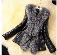 Fall Winter Style Pu Leather Stitching Faux Fox Fur Coats Plus Size Slim Outerwear Womens Man-Made Fur Outwears Fur Jackets K536