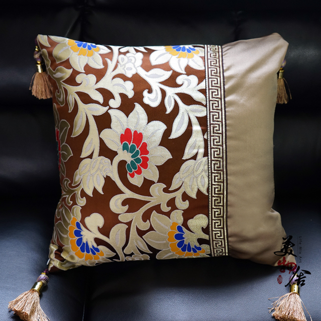Cotton redbud flower Embroidery Customize Pillow Case Wedding Room Sofa Chair Bedding Hotel Decorative Cushion Cover Pillowslip