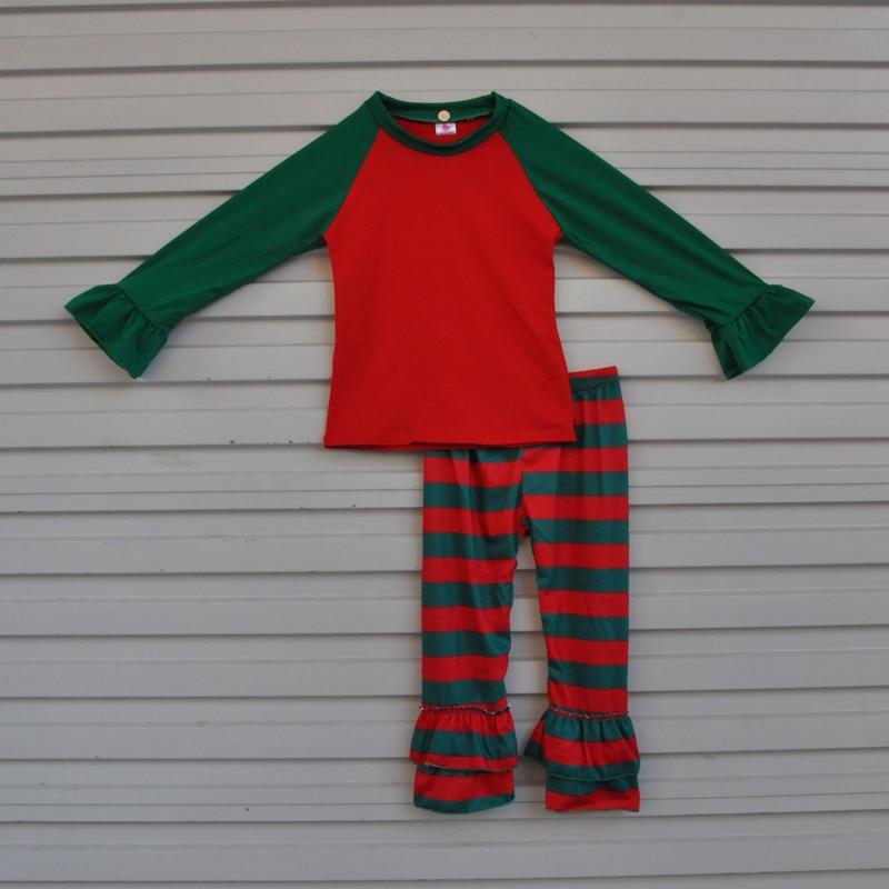 Free Shipping Red Green Kids Ruffle Raglan Outfits Stripe Baby Christmas Pajamas Cotton Children Girls Clothing Sets C008