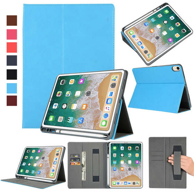 finest selection 56ed8 688f6 US $12.02 37% OFF Leather Stand Case For iPad Pro 11inch/12.9inch Flip  Folio Wallet Card Stand Case Cover Auto Sleep/Wake Up With Pencil Holder-in  ...