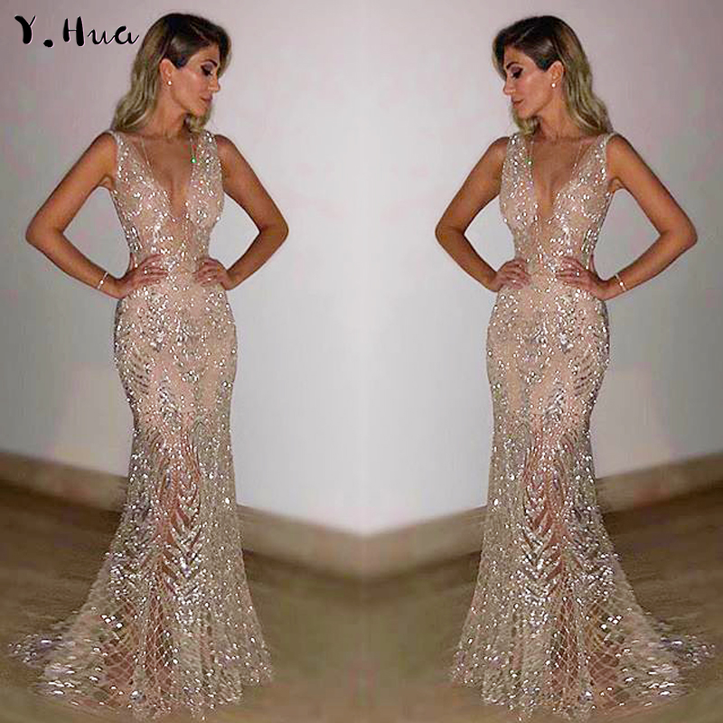 Sexy Deep V Neck Prom Dresses Gold Silver Sequin evening gown 2019 Mermaid Dresses robe de soiree Y H1310
