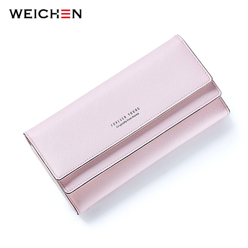 WEICHEN Fashion Casual Hasp Women Wallet Candy Color PU Leather Long Female Clutch Coin Purse Portable Wallet Carteira Feminina fashion girl change clasp purse money coin purse portable multifunction long female clutch travel wallet portefeuille femme cuir