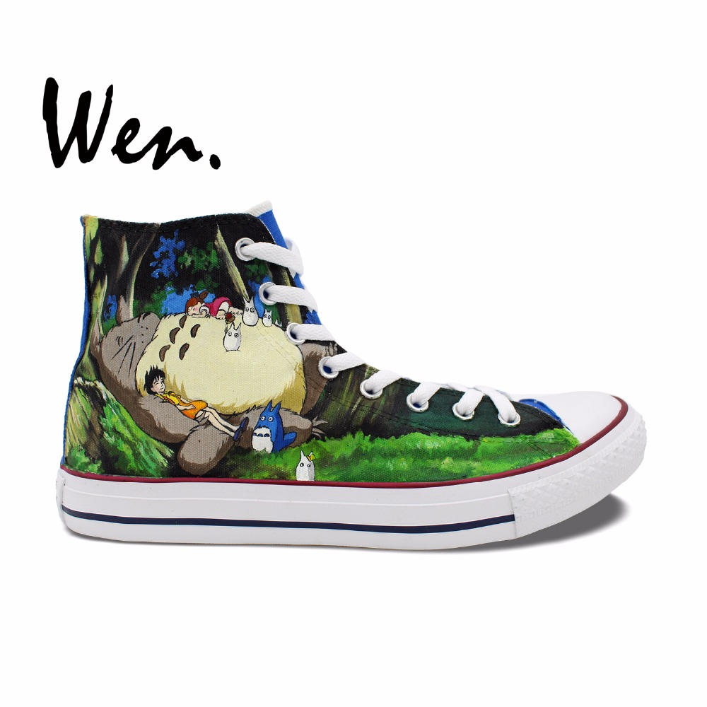Wen Blue Anime Hand Painted Shoes My Neighbor Totoro Men Women's High Top Canvas Sneakers for Birthday Gift wen hand painted shoes design custom anime my neighbor totoro high top canvas sneakers for men women s christmas gifts