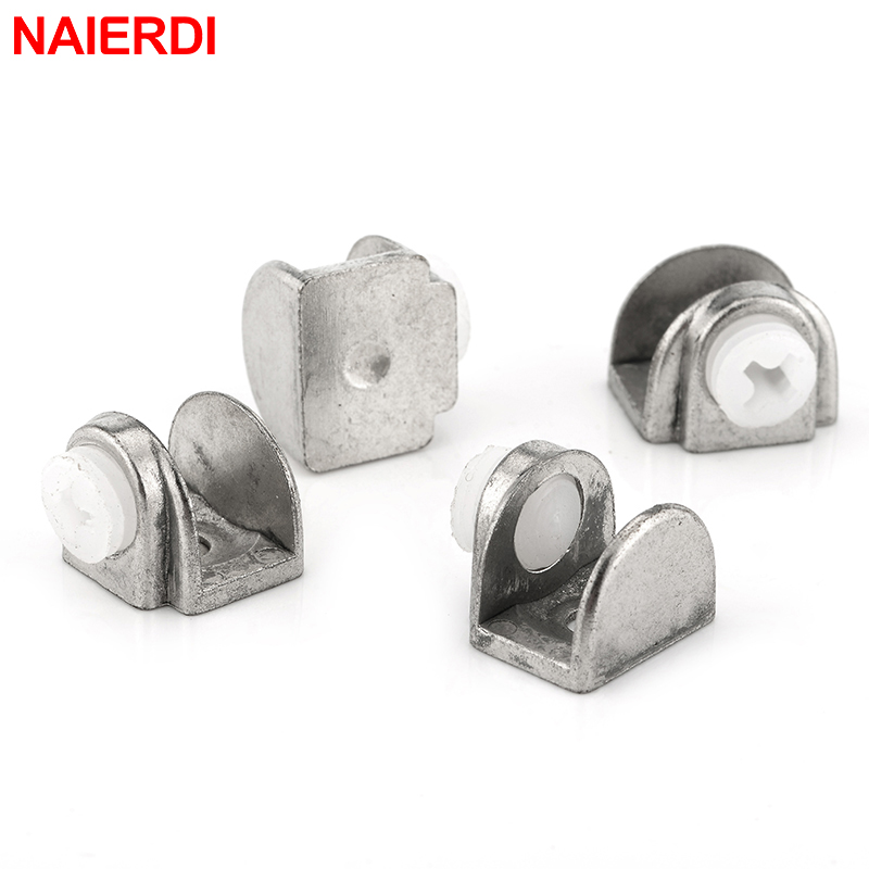 4PCS NED Half Round Glass Clamps Zinc Alloy Shelves Support Nickel Finish Corner Bracket Clips For 8mm Thick Furniture Hardware 8pcs round shelves support brackets clamps clips for 4 6mm glass wooden acrylic adjustable screw fix for wood glass acrylic