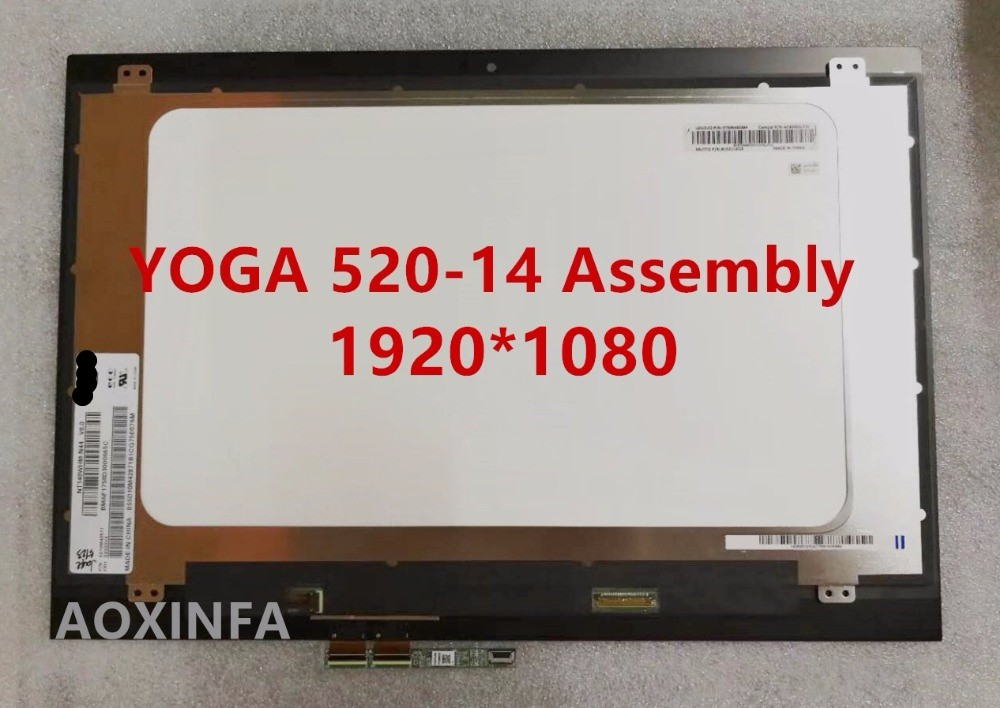 New original For Lenovo YOGA 520-14 YOGA 520 14 screen assembly NV140FHM-N49 1920*1080 LCD screen new original for lenovo thinkpad yoga 260 bottom base cover lower case black 00ht414 01ax900