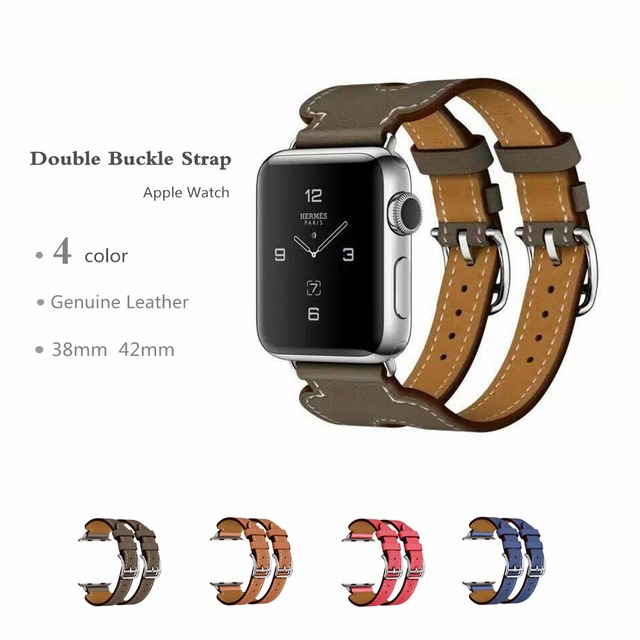 Genuine Leather strap watch band  For hermes Apple Watch Double Buckle Cuff band 42mm 38mm  bracelet watchband Connector adapter