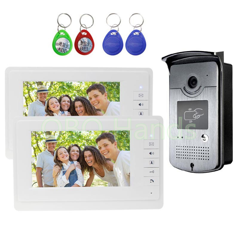 Wired Home 7 inch TFT LCD Monitor Color Video Door Phone Intercom System+RFID IR COMS Outdoor Camera One To Two Video Doorphone 4 3inch color tft lcd wired monitor video door telephone rfid unlock electronic lock video cameras for video doorphone 2 buttons