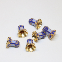 5pcs new fashion 11*13mm cloisonne enamel gold plated blue flower shape spacers accessories beads fine jewelry making B2370