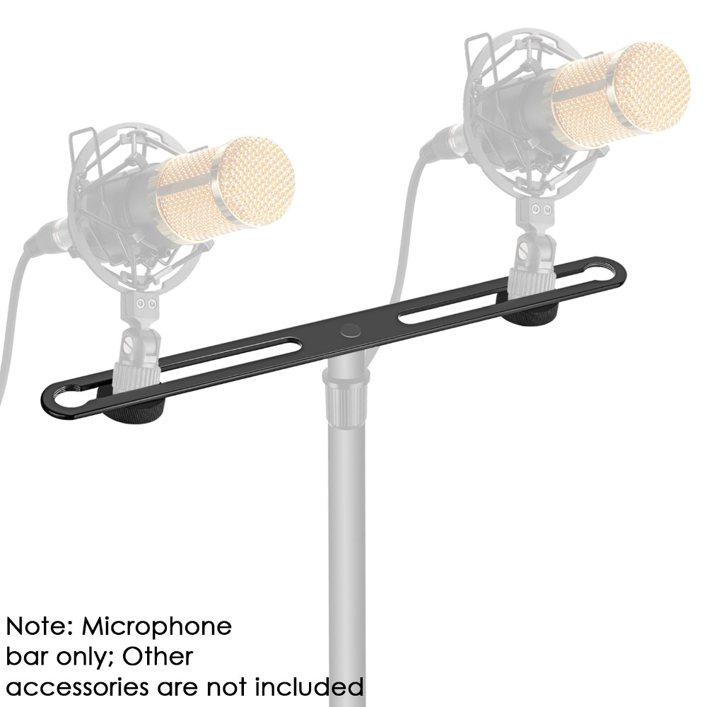 Neewer Adjustable Microphone Bar Zinc Alloy Construction With 5/8-inch Screws For Holding 2 Mics Or Boom Arms Shock Mounts