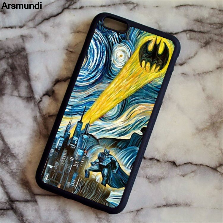 Arsmundi Starry Night Batman Gotham Dark Knight Phone Cases for iPhone 5C 5S 6S 7 8 X for Samsung Case Soft TPU Rubber Silicone