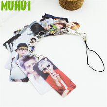 Kpop EXO KRIS Photo Pvc Card String Keychain 8 pcs Cards/string Women Bag Accessories Chaveiro Llaveros B098(China)