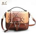 QIWANG Vintage Brown Genuine Leather Bags 2017 Summer Python Bag Famous Brand Snake Pattern Celebrity Party Handbag