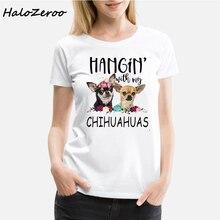 Chihuahua Dog Hanging Printed T-shirt Personality Fashion Harajuku New Summer Casual Streetwear Aesthetic womens Clothing