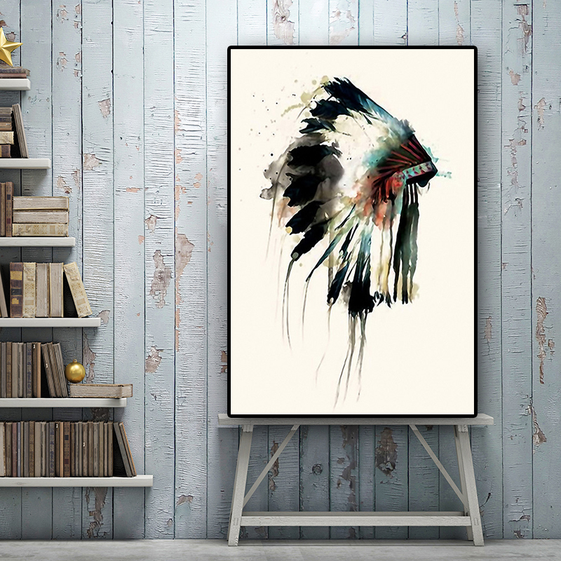 Native American Pretty Feather Headdress Oil Painting on Canvas Posters and Prints Scandinavian Wall Art Picture for Living Room