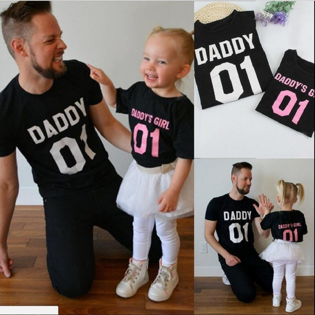 912e8747 Father and Daughter Matching Clothes Summer 01 DADDY GIRL Tees Letter Print  Top Family T Shirts Dad and Me baby girls shirt Set-in Matching Family  Outfits ...