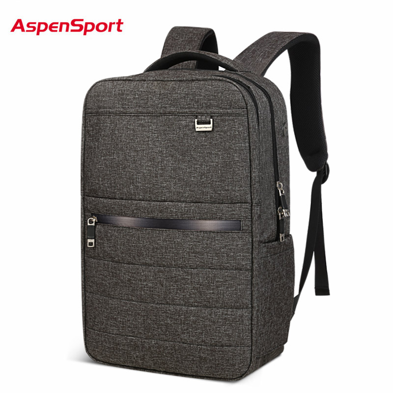 AspenSport Business Backpacks For Men School Bags Male Laptop fit 15.6-17 Inch Notebook Computer Travel for Boy School bags Grey