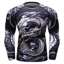 Hombres 3D impreso MMA Rashguard BJJ jersey compresión tops Cross Fit camisetas gyms Bodybuilding camiseta camisetas