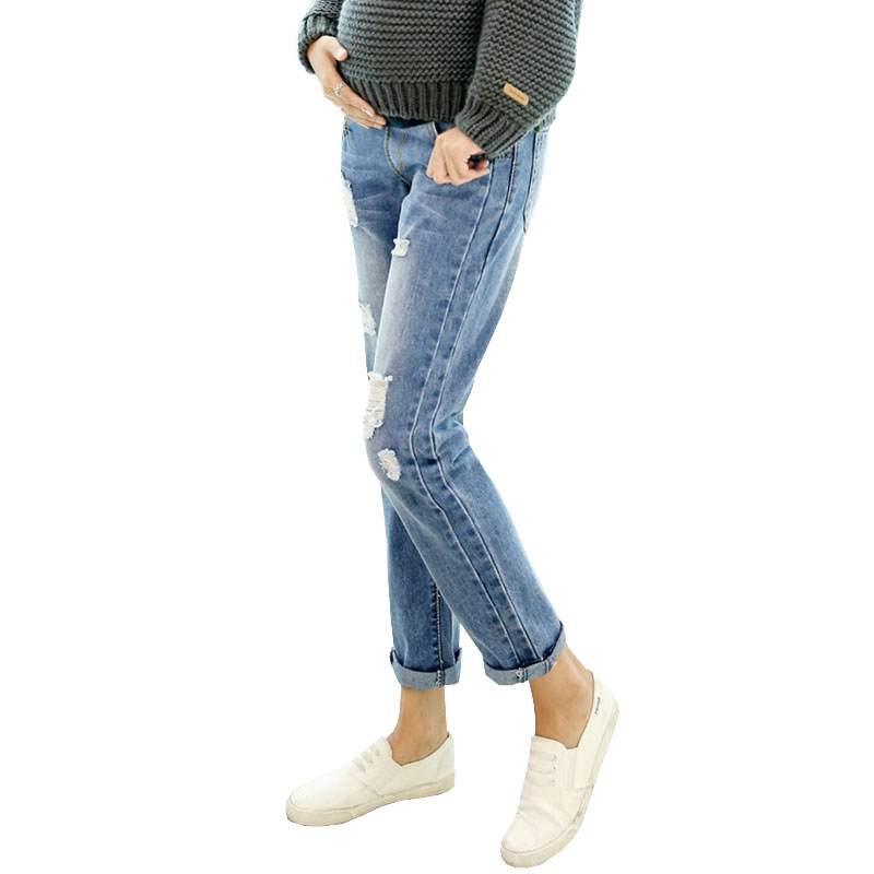 Hole Denim Jeans Maternity Pants For Pregnant Women Clothes Nursing Trousers Pregnancy Overalls Prop Belly Pants Clothing