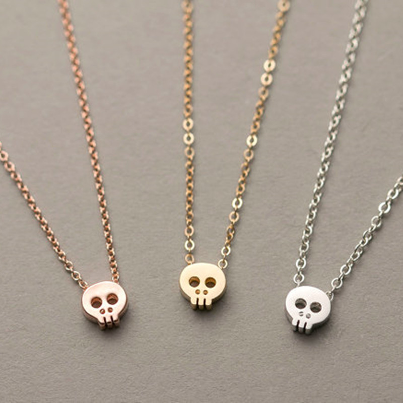 Tiny Skull Necklace Dainty Layering Delicate Charm Gold / Rose Gold or Silver Plated Mini Skull Pendant trussardi delicate rose