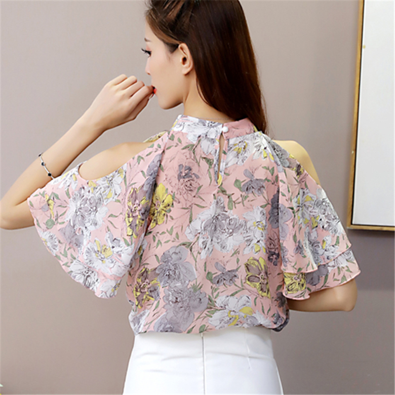 e04d09046dfb Women Blouse Shirts Chiffon Short Butterfly Sleeve Shirt Woman Clothing  Summer Floral Print Fashion off shoulder Hollow Out Tops-in Blouses   Shirts  from .
