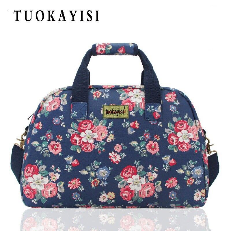 Hot Sale Canvas Travel Bags Large Capacity Waterproof Fashion Duffle Bag Vintage Handbags flowers Designer Women folding Bag