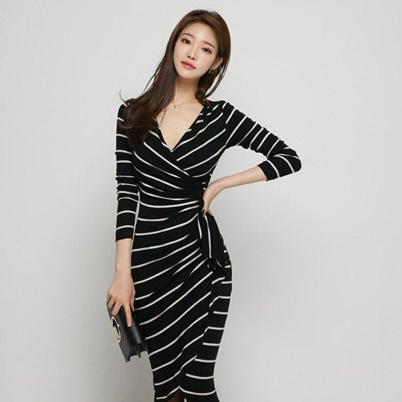 Pencil Sheath Dress 2017 Spring Office Long sleeve Sexy Korean Women Slim Hip V neck Striped ...