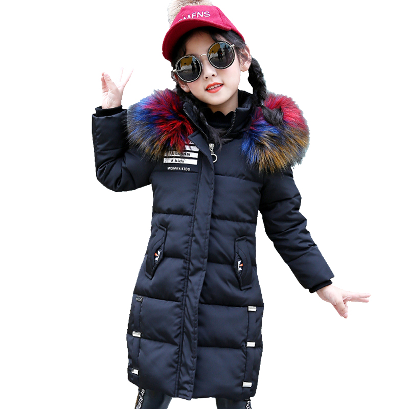 2018 Winter Coat Girls Jackets Fur Hooded Parkas Coats for Girls Kids Clothes Thick Warm Cotton-padded Children Outerwear kamiwa 2018 cotton padded girls winter coats and jackets hooded thick long kids outwear warm clothes parkas baby girls clothing
