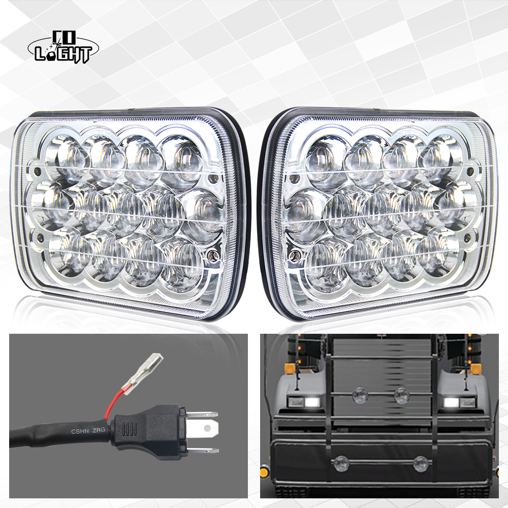 CO LIGHT 1 Pair 5x7 Headlight 39W 7X6 Inch 5D Lens Diamond Sealed Led Headlights High Low Beam Built in Light 7X6'' for Ford