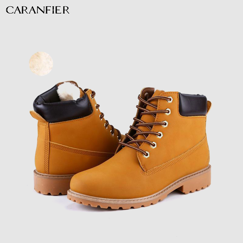 CARANFIER Mens Shoes Winter Warm With Fur Lining Option Leather Boots Ankle Boots Casual Martin Shoes Lace-Up Sport Snow Boots