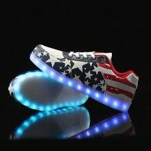 MaiDun Mode Männlichen FÜHRTE Schuhe Bunte Casual Sneaker USB lade mit USA Flagge Tanzen oder Party in der nacht