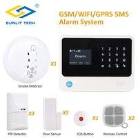 Wireless Home Burglar Security GSM WIFI Alarm System EN RU ES FR Menu Switchable SIM SMS APP Remote Alarm Security Protection
