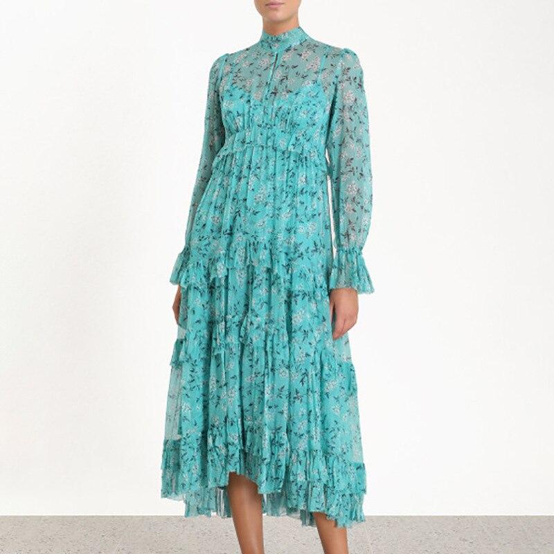 2019 robe d'été nouvelles femmes porter haut de gamme haut de gamme manches moyennes en mousseline de soie de plomb cassé fleur robe imprimer robe femmes