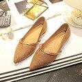 2017 Novo da Camurça Do Falso Anel de Metal Sapatos Casuais Pontas Do Dedo Do Pé Das Mulheres Apartamentos Zapatos Mujer Sexy Lady Sapatos de Caminhada Leopardo de Ouro