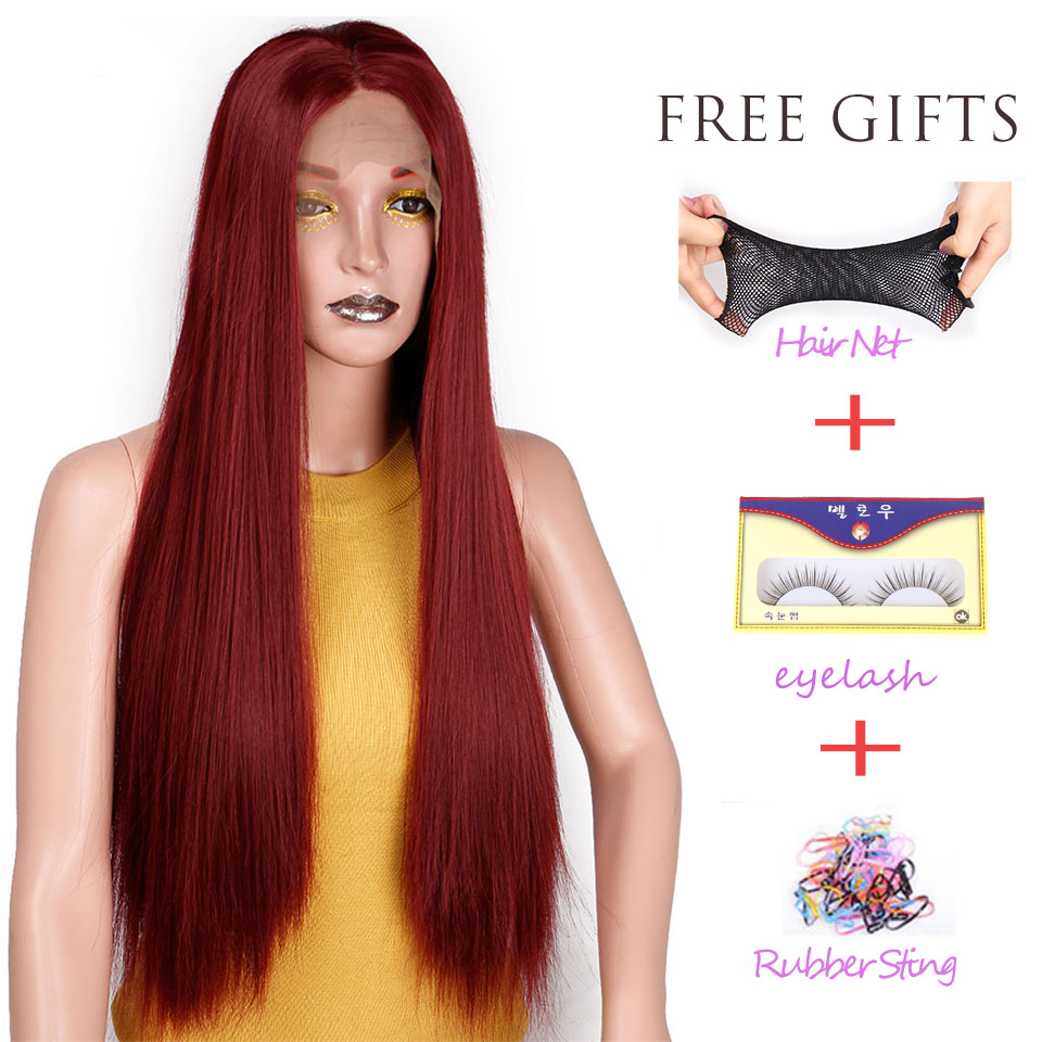 I's a wig Synthetic Front Lace Wig Long Red Straight Wigs 26 inch Perucas Lace Wigs for Women 5 Color can be Choose(China)